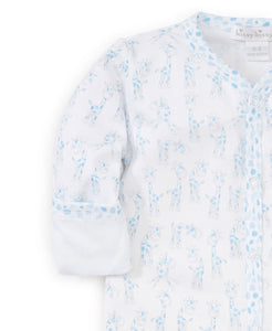 Giraffes Print Footie - Light Blue