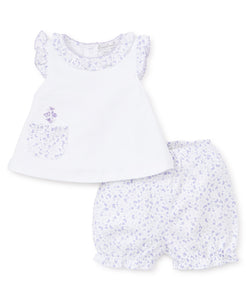 Mini Blooms Sunsuit Set - White Lilac