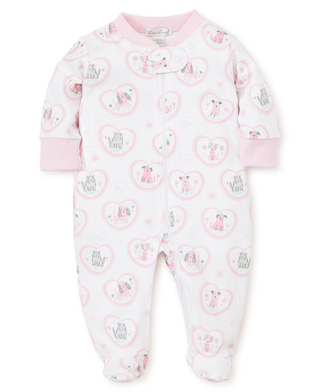 Pj's Pink Pups Footie with Zip