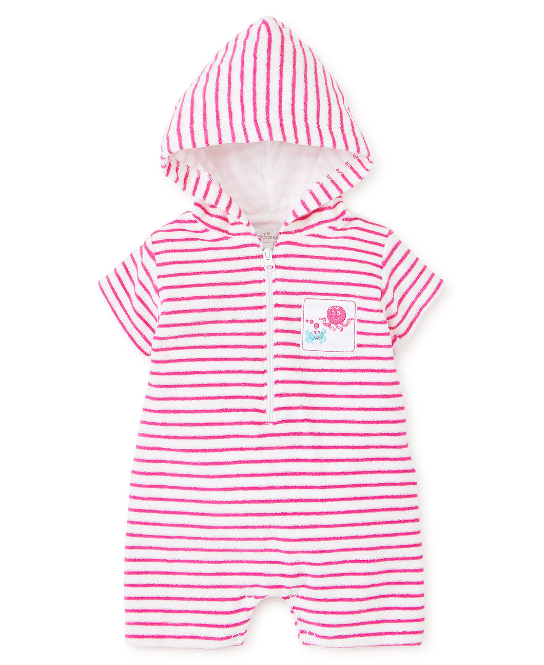 Under the Sea Fuchsia Terry Romper Stripe