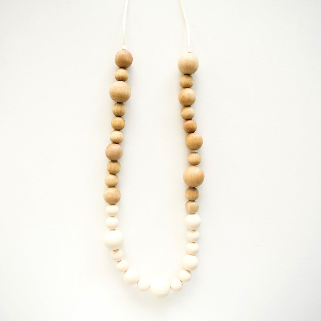 Leia Wood + Silicone Teething Necklace - Beige