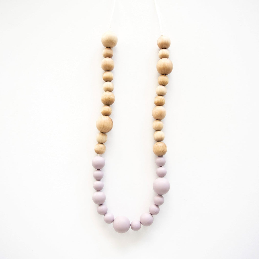 Leia Wood + Silicone Teething Necklace - Lilac/Dusty Mauve