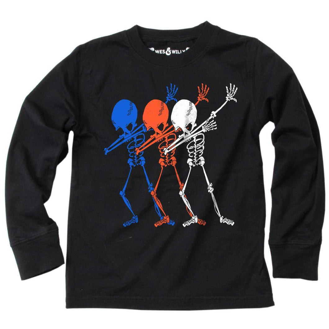 Skeleton Dab LS Tee Black
