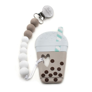 Bubble Milk Tea Silicone Teether Holder Taupe
