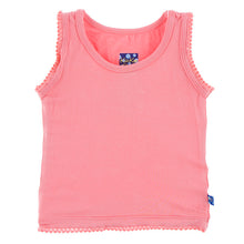 Load image into Gallery viewer, Solid Scalloped Edge Tank in Strawberry