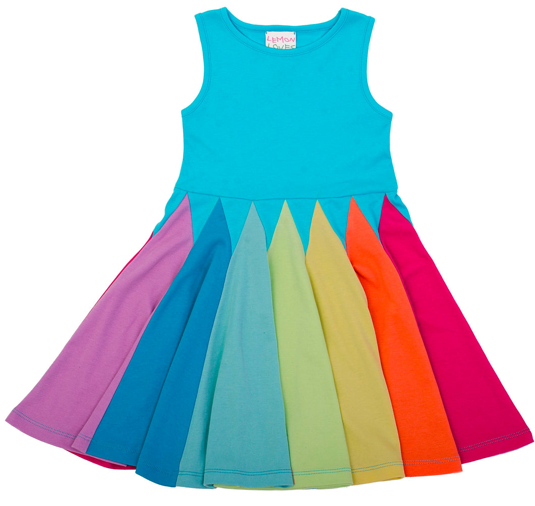 Rainbow Twirl Dress Blue Radiance