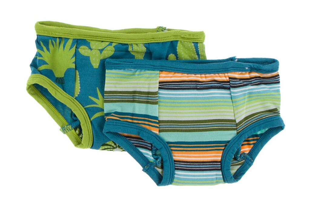 Training Pants Set of 2 - Seagrass Cactus & Cancun Glass Stripe