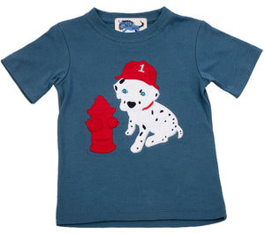 Dalmatian Fire Fighter Tee Blue Stone