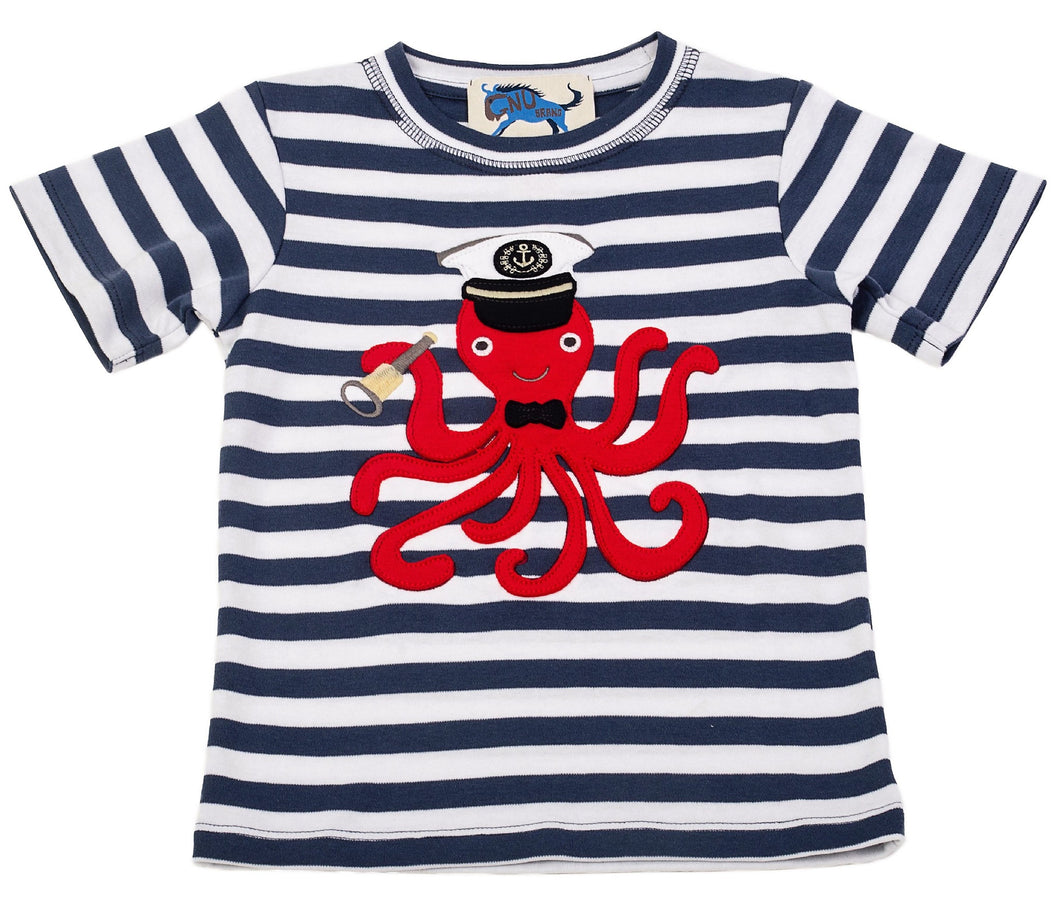 Captain Octopus Tee Indigo White