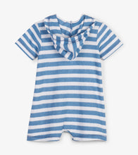 Load image into Gallery viewer, Blue Stripes Hooded Baby Terry Romper