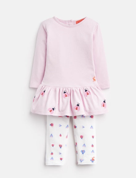 Amy Mock Layer Bodysuit and Leggings Set - Pink Lady Birds