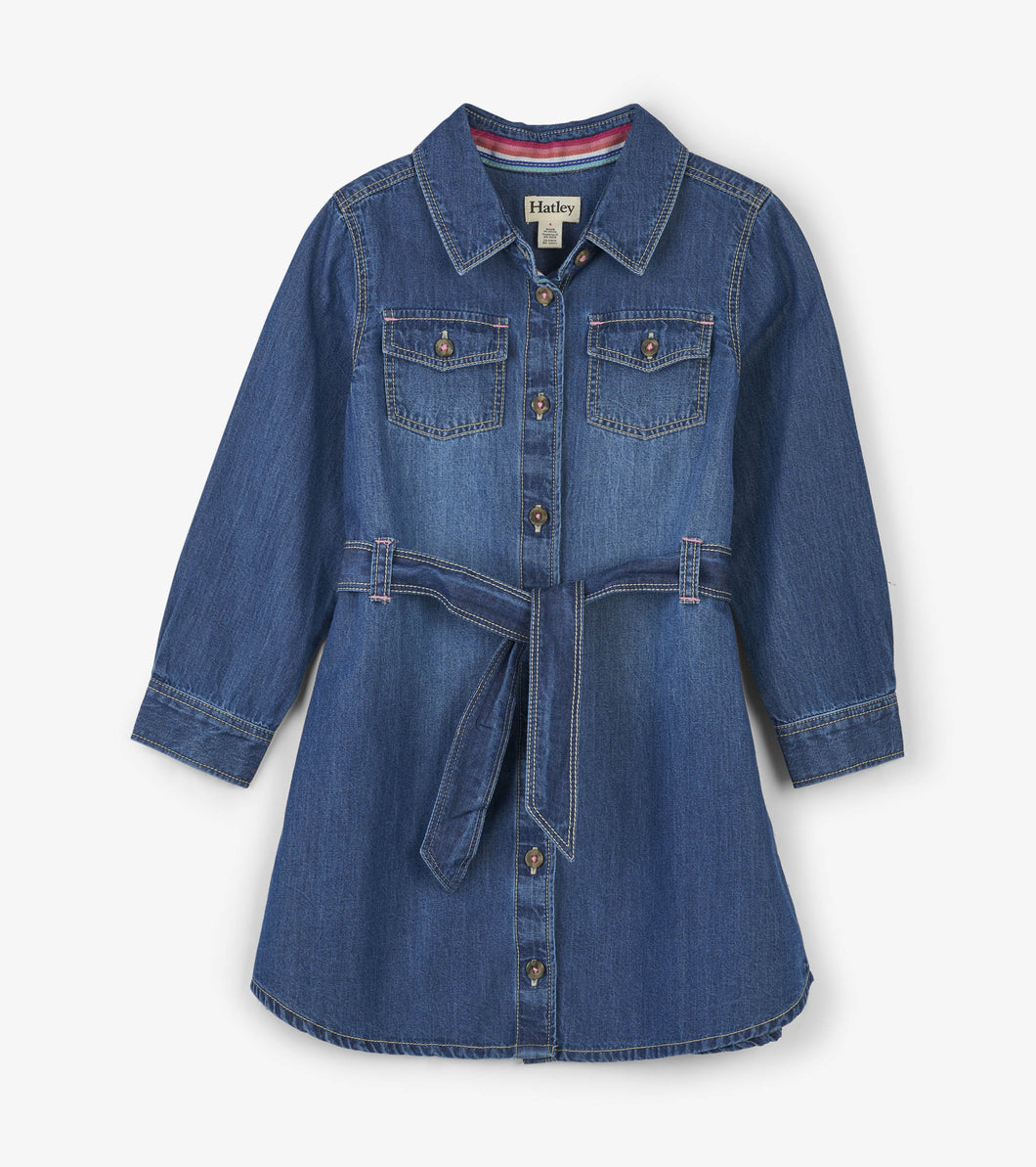 Button Down Denim Belted Dress