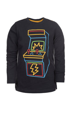 Graphic Long Sleeve Tee - Game Time - India Ink