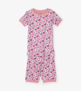 Summer Garden Organic Cotton Short Pajama Set - Pink Yarrow