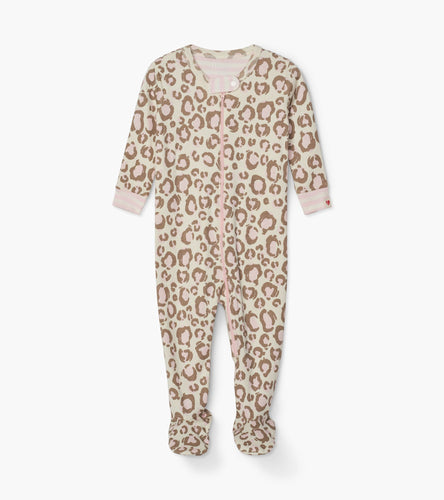 Painted Leopard Organic Cotton Footed Coverall - Cami Lace