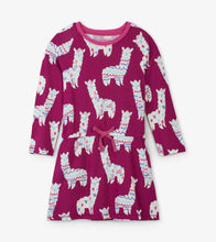 Load image into Gallery viewer, Adorable Alpacas Drop Waist Dress