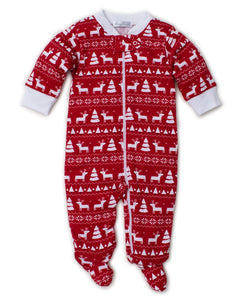 Pjs Christmas Deer Footie w/ Zip PRT- Red