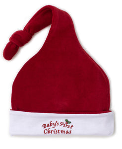 Baby's First Christmas 19 Velour Stocking Hat - Red