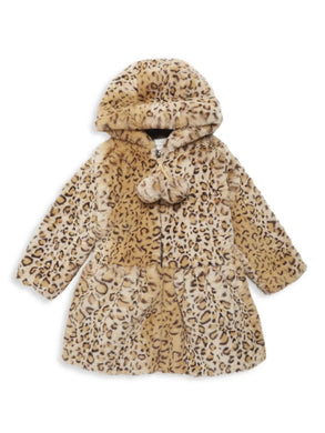 Hooded Zip Front Pompom Coat Caramel Leopard
