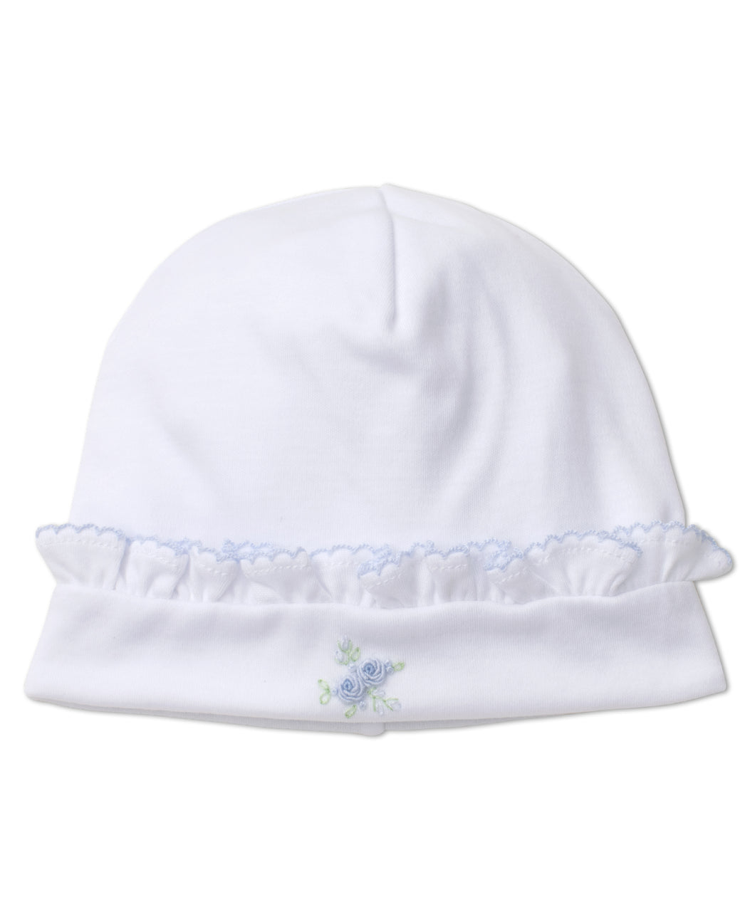 Winter Rosebuds Hat with Hand Emb - Blue