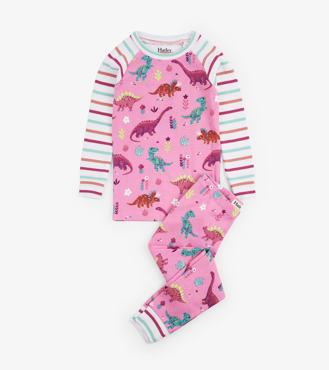Darling Dinos Organic Cotton Raglan Pajama Set