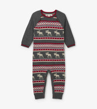 Load image into Gallery viewer, Fair Isle Moose Baby Sweater Romper