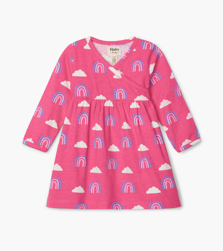 Happy Rainbows Baby Crossover Dress - Carmine Rose