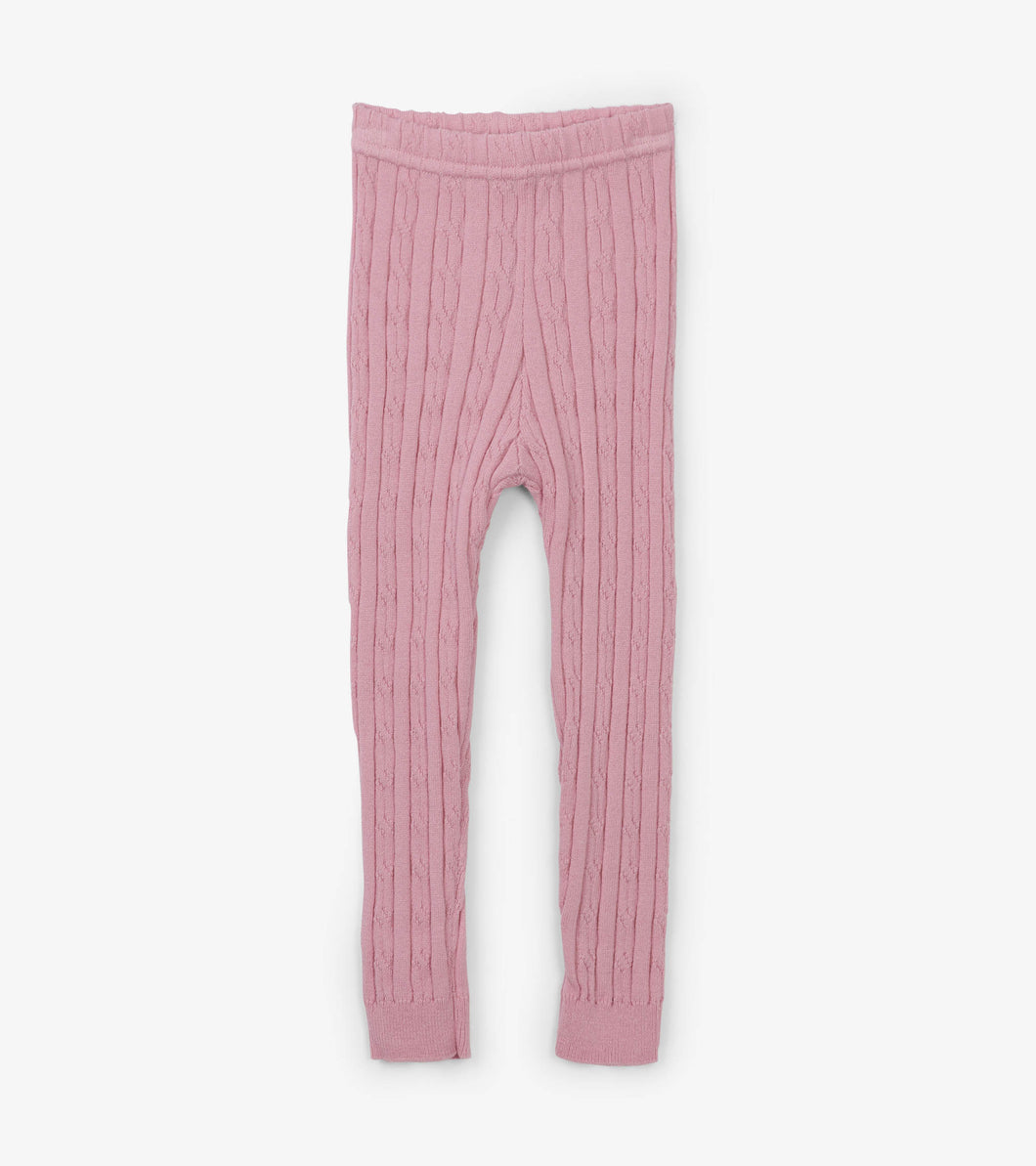 Pink Cable Knit Baby Leggings