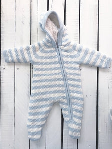 Sherpa Hooded Footie - Pale Blue