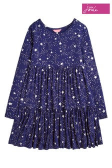 Toni Navy & Silver Star Tiered Dress