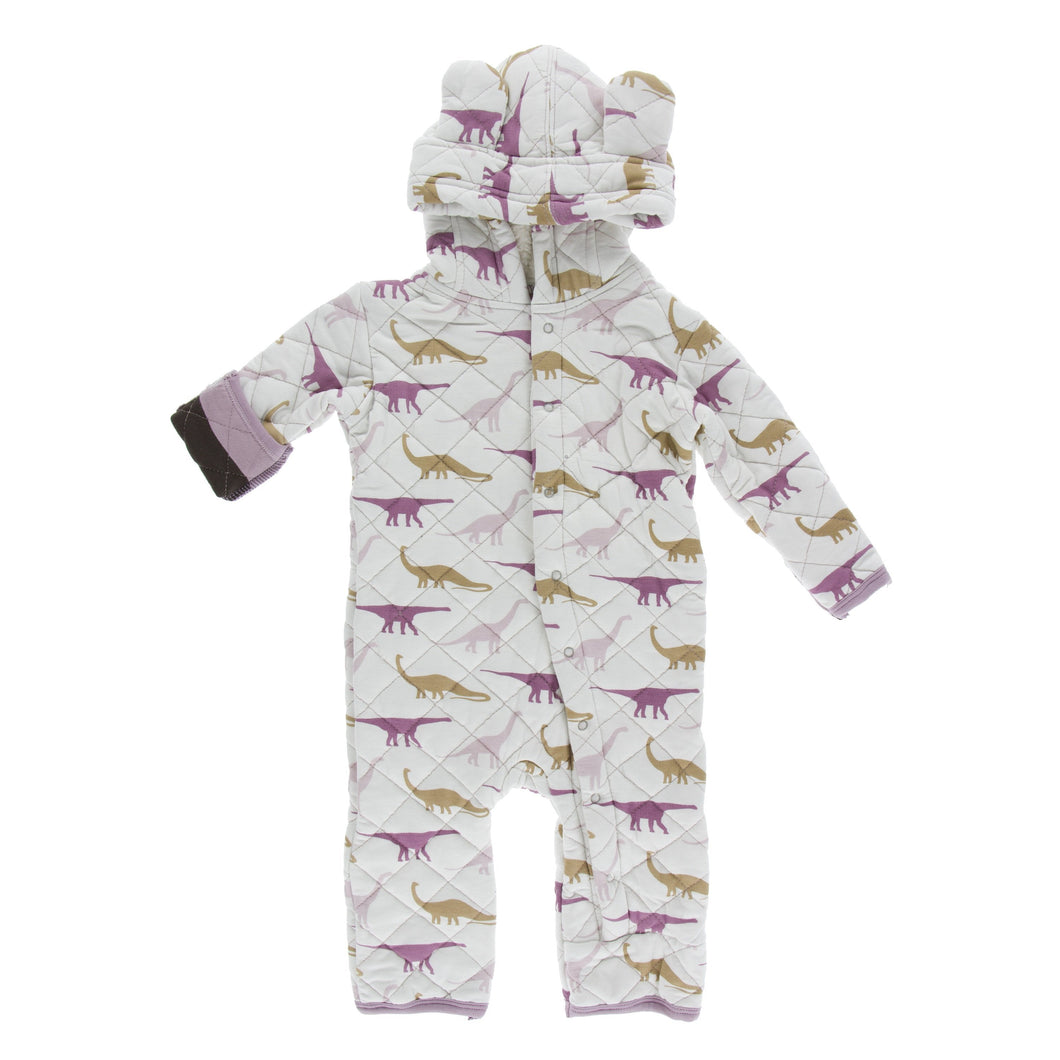 Print Quilted Hoodie Coverall with Sherpa - Lined Hood - Natural Sauropods with Paleontology Flora Stripe