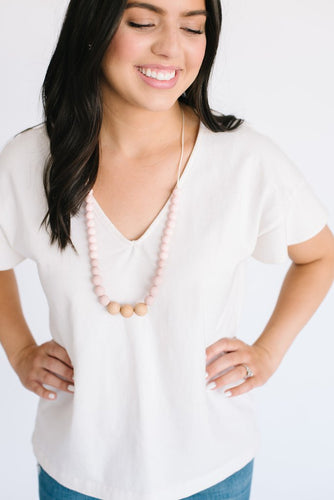 Naturalist Wood + Silicone Necklace - Pink Rose