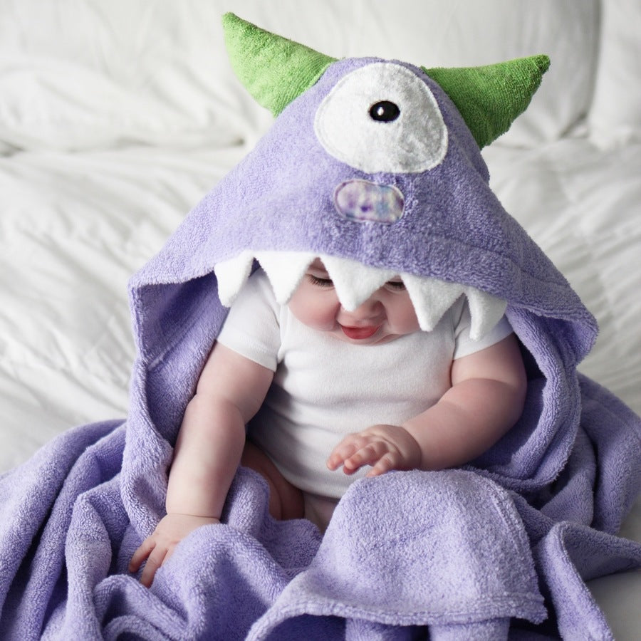 Purple Monster Hooded Towel