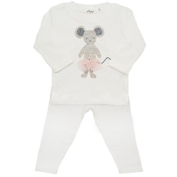 oh baby! Two PieSetce  - Frill Ragdoll Mouse with Apricot Skirt - Cream