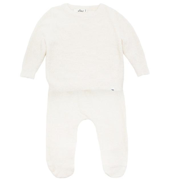 oh baby! Two Piece Fuzzy Knit Set - Eggshell