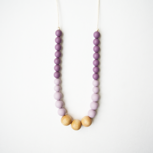 Naturalist Wood + Silicone Teething Necklace - Plum Mauve