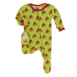 Print Footie with Snaps - Meadow Chill Peppers