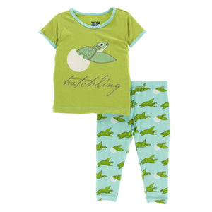 Print Short Sleeve Pajama Set Glass Sea Turtles