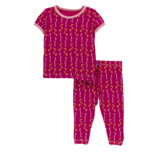 Print Short Sleeve Pajama Set Rhododendron Worms