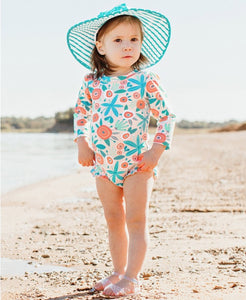 Baby Seaside Floral Long Sleeve One Piece Rash Guard