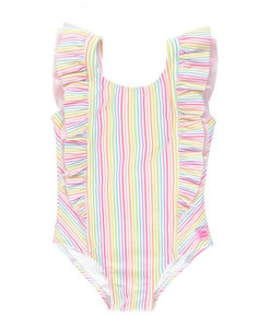Rainbow Stripe Waterfall One Piece