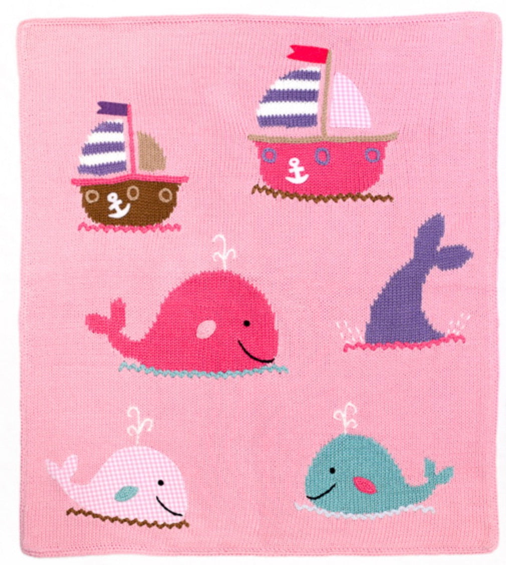 Whale Watch Blanket in Pink