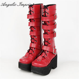 30a37c4126bf Japanese Harajuku Thick Platform Punk Goth Cosplay Boots Women Burgundy  Leather Buckle Straps Lace Up High Boots