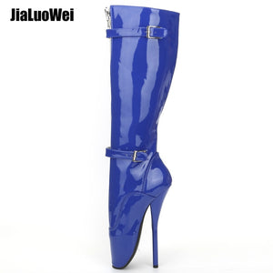 6d92d71448e6 jialuowei 2018 New Arrive 18CM Extreme High heel Sexy Fetish Goth Ballet  Boots PU Patent Zip Buckle Strap Knee-high long boots