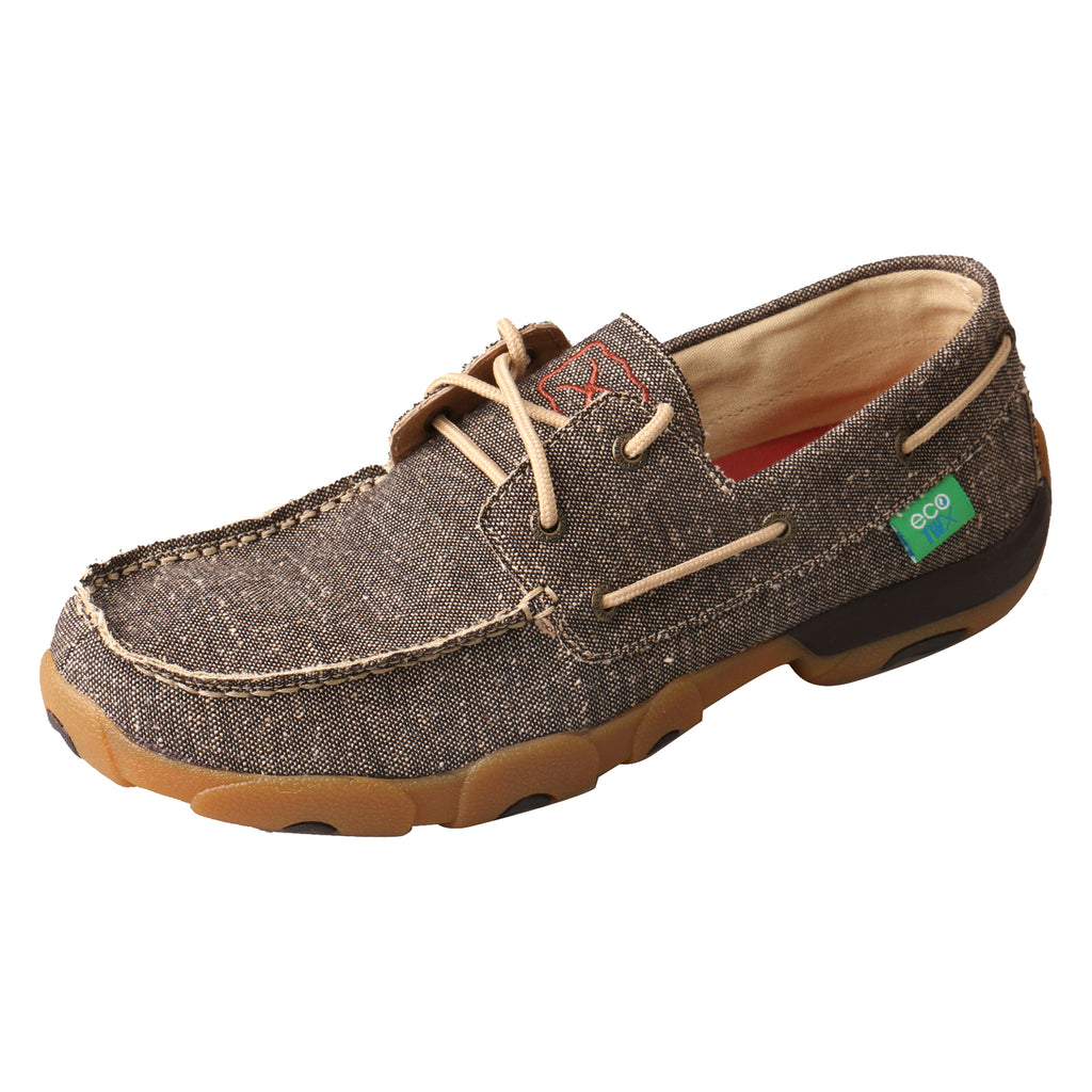 Angled picture of the outter side of the Men's Twisted X ECO Boat Shoe Driving Moc MDM0064