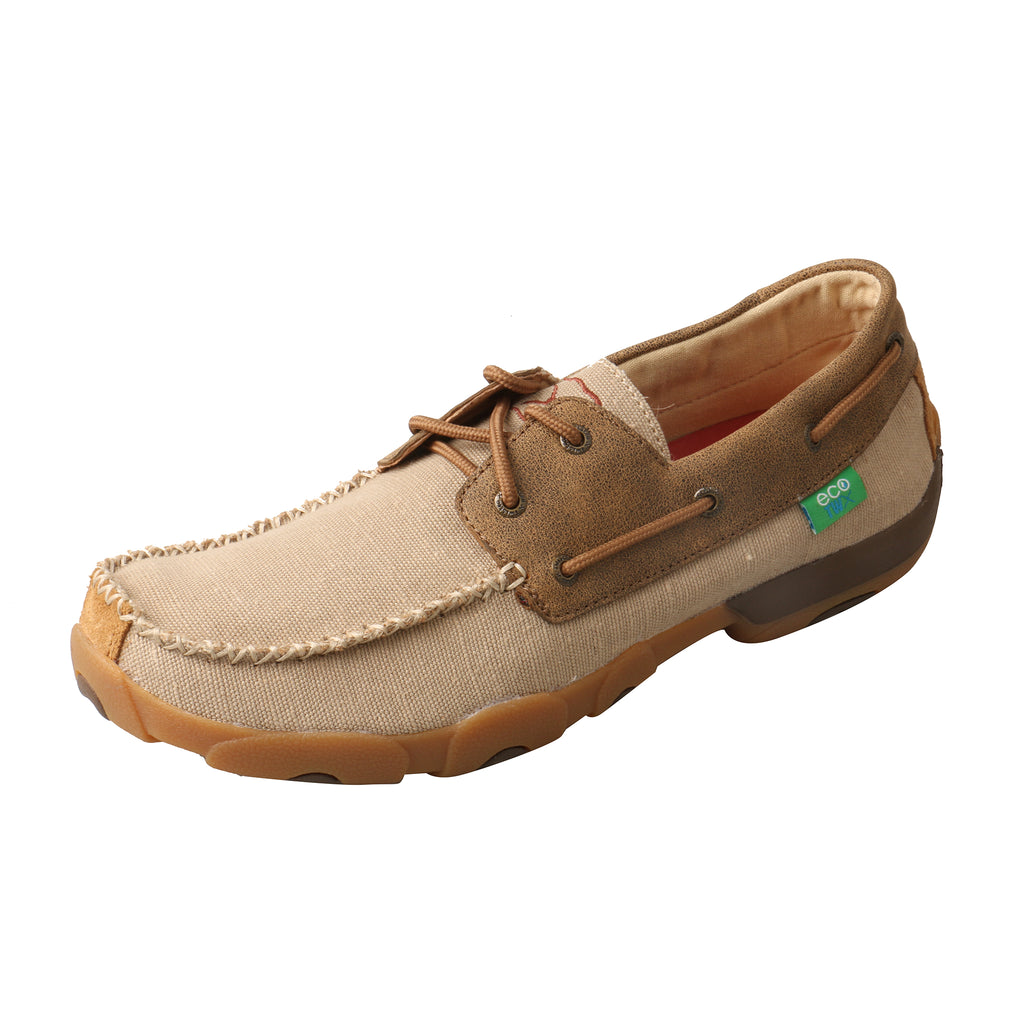 Angled picture of the outter side of the Men's Twisted X ECO Boat Shoe Driving Moc MDM0078