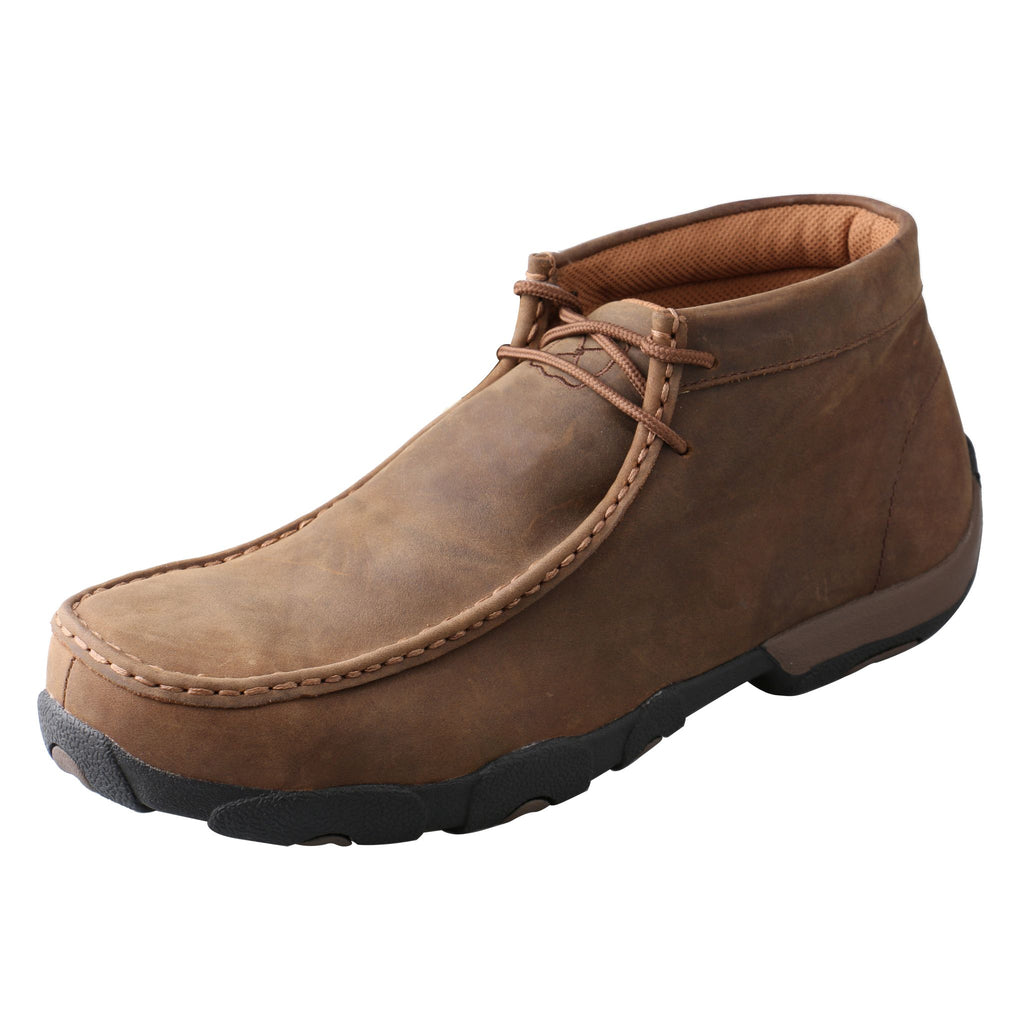 Angled picture of the outter side of the Men's Twisted X Work Steel Toe Chukka Driving Moc MDMST01