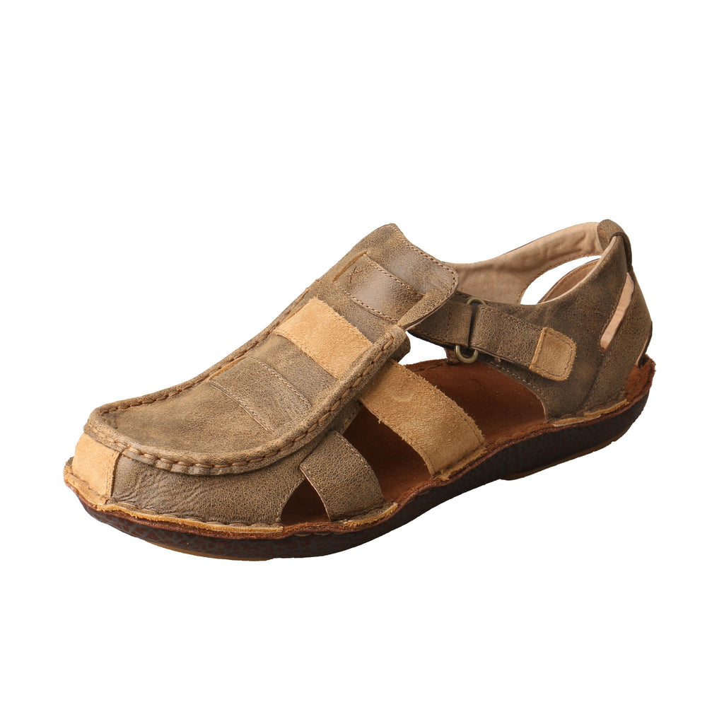 Angled picture of the outter side of the Men's Twisted X Leather Wrap Sandal MLW0004