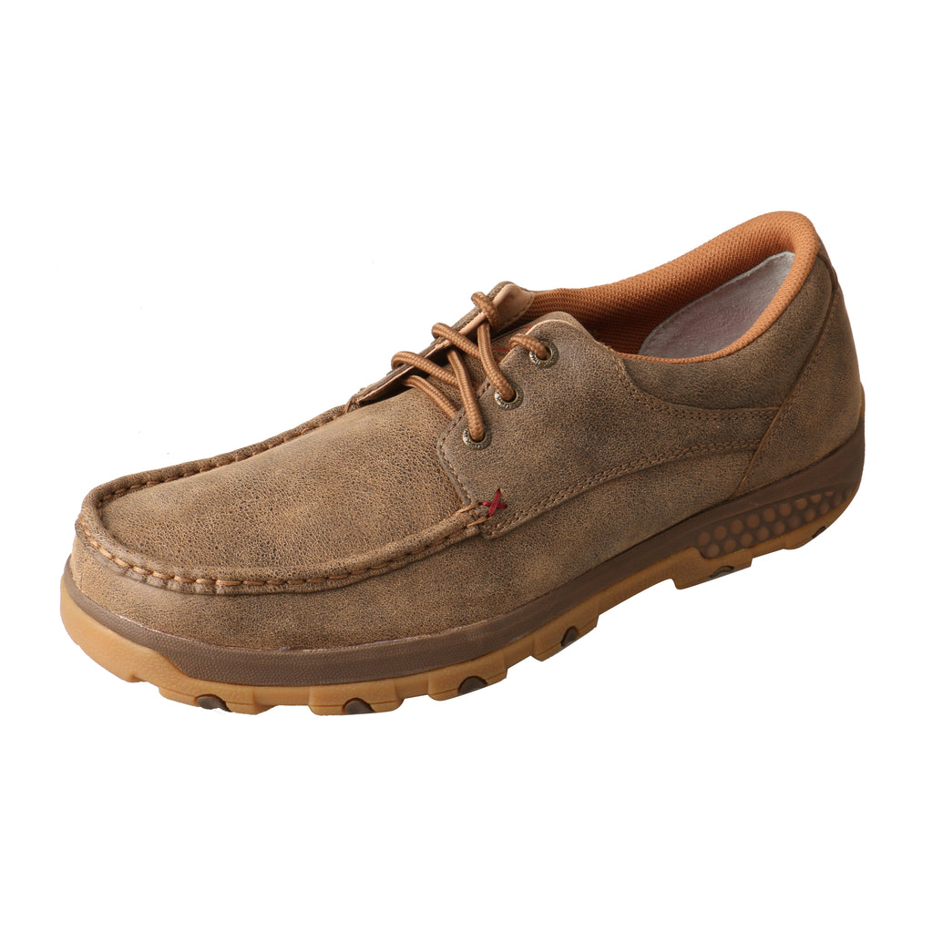 Angled picture of the outter side of the Men's Twisted X Boat Shoe Driving  Moc with CellStretch MXC0002