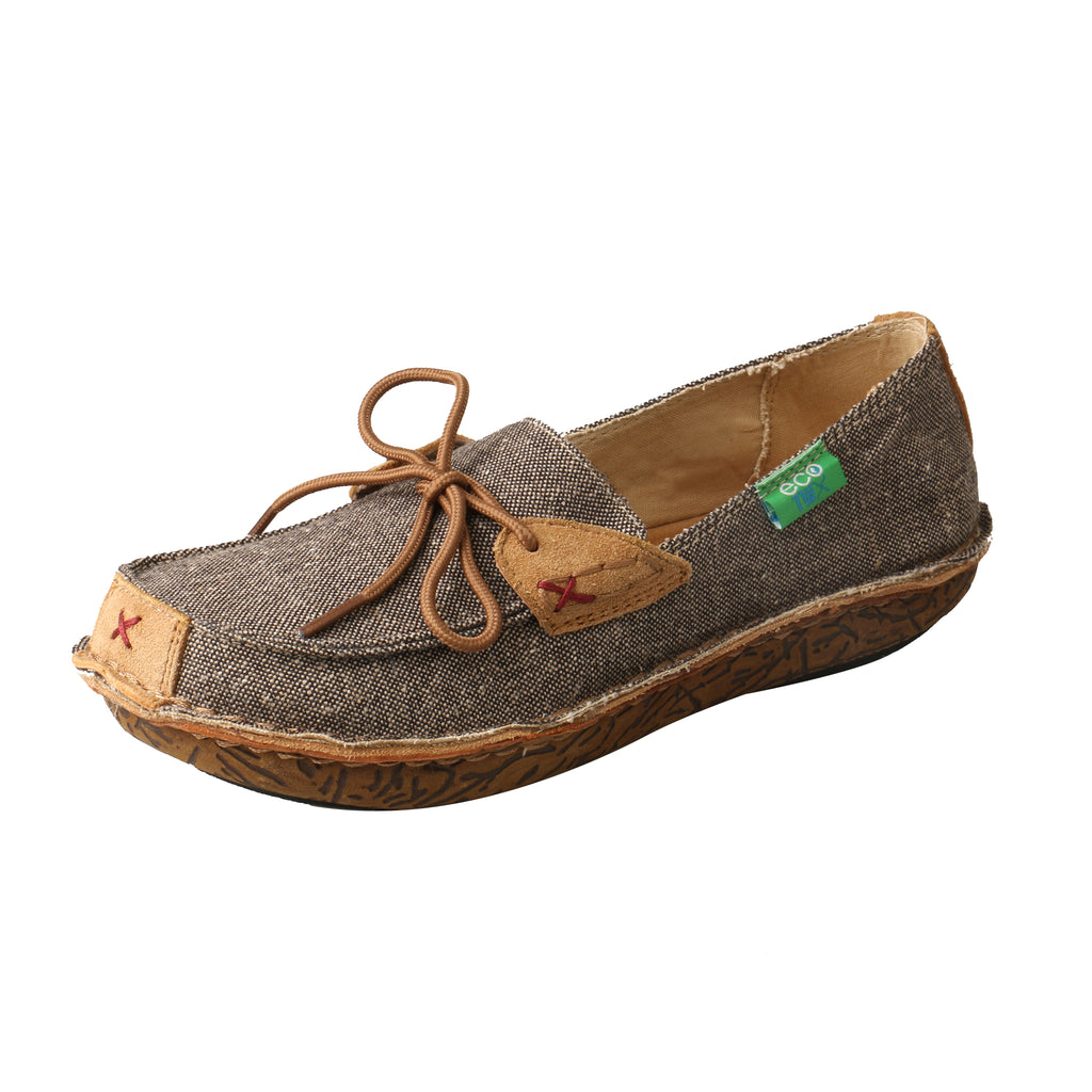 Angled picture of the outter side of the Women's Twisted X ECO Leather Wrap Boat Shoe WLW0001
